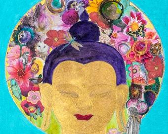 Taking Refuge  Buddha Art mixed media Collage Giclee Print