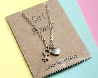 Girl Power necklace - feminist necklace - feminist jewellery - lgbt jewelry -girl boss