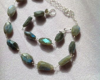 Wire wrapped blue/green flash labradorite necklace and matching bracelet.  Price is for set.