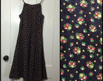 1970's tiny flower print simple Sun Dress looks size Small tie shoulder straps A-line