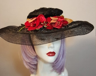 FREE  SHIPPING   1940 Wide Brim Straw Hat