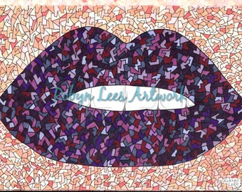Freaky Craquelure Lips Artwork Print in Purples, Graphic Illustration Art in Ink and Pencil