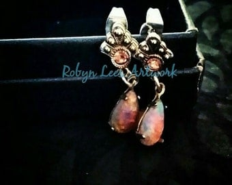 Rose Swarovski Crystal and Milky Pink Glass Fire Opal Teardrop Stud Earrings with Silver Plated Butterfly Backs