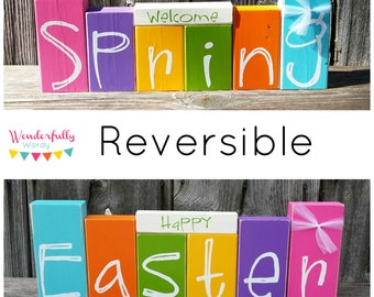 Happy Easter / Welcome Spring Reversible Double Sided Blocks Set 2 Decorations in 1 Spring Decorations Easter Decorations