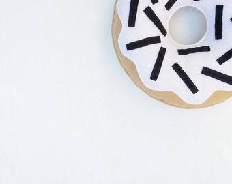Monochrome black and white donut cushion