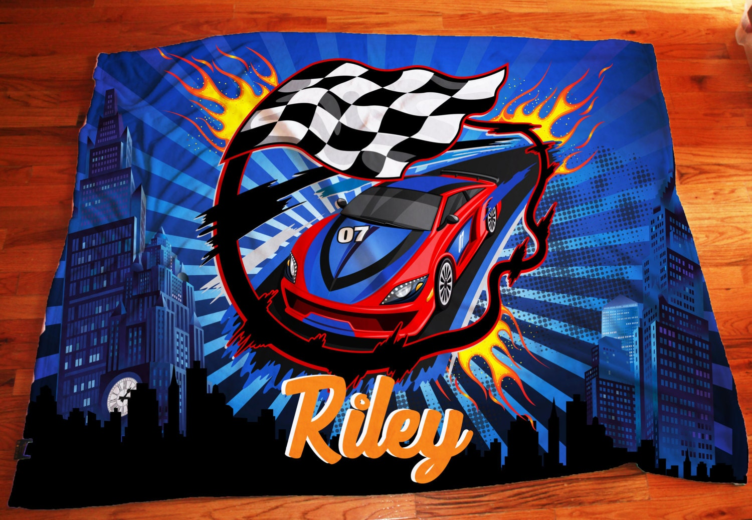 Car Blanket: Personalized Race Car Blanket Extra Large 50x60 Or 60x80