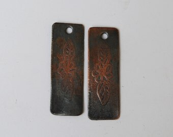 Flower With Leaves Etched  Copper Earring Components,Handmade,Earring Beads