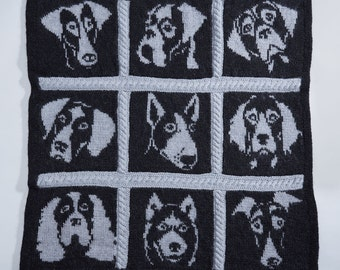 Knitting charts, dog knitting pattern, dog portrait, intarsia pattern, intarsia knitting, double knitting pattern, knitting pattern