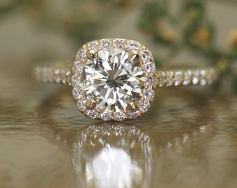 Cushion Shaped Halo Diamond Engagement Ring in Yellow Gold, All Natural 0.90ct Round Brilliant Cut J/SI1 Diamond Center, Fit-Flush, Kylie D