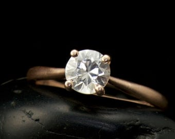 White Sapphire Engagement Ring in Brushed 14k Rose Gold, 6mm/0.75ct White Sapphire Center, 1.8mm Domed Band, Cathedral Style, Talia A
