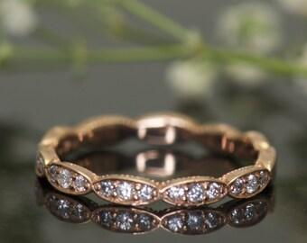 Scalloped Diamond Band in 14k Rose Gold, 2mm Wide, 0.20ctw, Diamonds Set 1/2 Eternity, Wavy Wall Design, Inset Beaded Milgrain, Lesly B