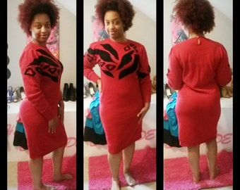 Vintage RED Sweater Dress by DARIAN//Size Small