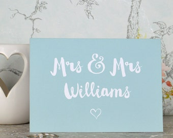 Lesbian wedding card for same sex couple, Mrs and Mrs card, personalised wedding card for ladies