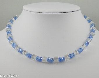 Light Sapphire Blue Swarovski Crystal & Clear Glass Cube Beaded Necklace - Handmade, Light Blue Beads + Free Earrings