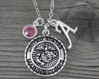 Marine Corps Necklace, Personalized Marine Corps Jewelry, Letter Birthstone, Silver Marine Corps, Marine Corps, Marine Corps Gifts