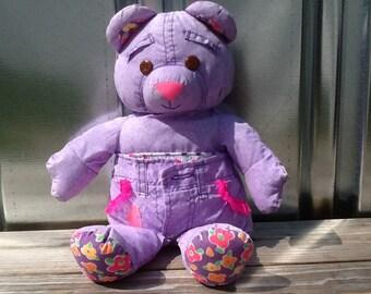 Original 90s Tyco Purple Denim DOODLE BEAR