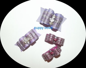Puppy Bows ~ lavender rhinestone double looped show bow 3 sizes purple pet hair ~USA seller
