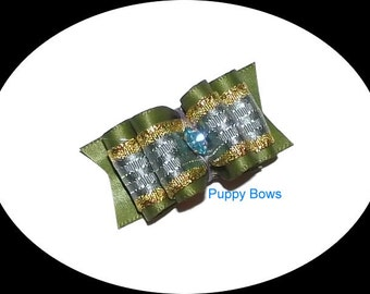 Puppy Bows ~Olive blue gold show dog bow Shih Tzu rhinestone centers ~USA seller