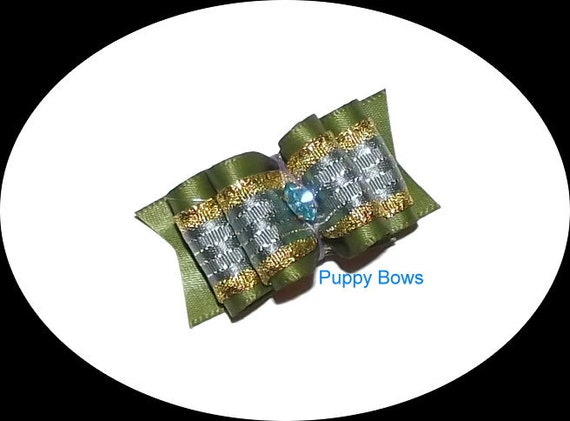 Puppy Bows ~Olive blue gold show dog bow Shih Tzu rhinestone centers ~USA seller  (fb18)