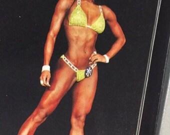 Fitness bikini with rectangular rhinestone set