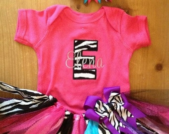 ON SALE Pink, Purple, Turquoise, and Zebra Scrap Fabric Tutu Outfit
