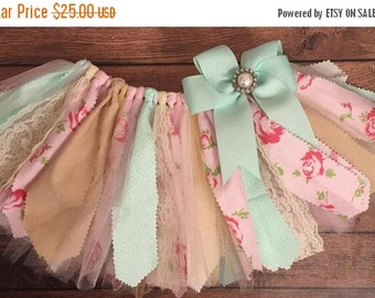 ON SALE Light Pink, Mint, and Ivory Roses Shabby Chic Scrap Fabric Tutu