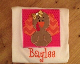 ON SALE Pink, Orange, and Gold Girly Turkey Shirt or Baby Bodysuit