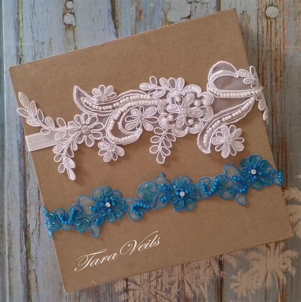 Tradition Of Wedding Garter: Wedding Garter SetWhite And Blue GarterRhinestone White