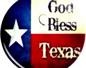 God Bless Texas. Item  FD40-61  - 1.25 inch Metal Pin back Button or Magnet
