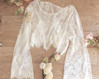 Bell sleeved 70's lace crop, scalloped eyelace lash loungewear, festival layering.