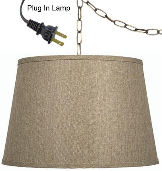 linen fabric plug in swag lamp pendant light sizes 14 16 wide. Black Bedroom Furniture Sets. Home Design Ideas