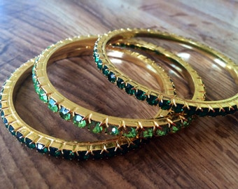 Vintage High Quality Swarovski Type Green Bangles Gold Plated