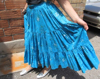 Vintage Cotton Blue Country and Western Prairie Skirt