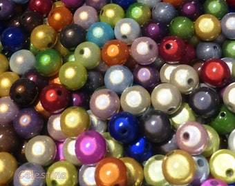 40 3D Illusion Beads Mixed Colours 8mm Round Glossy Lustre Miracle Beads PB90