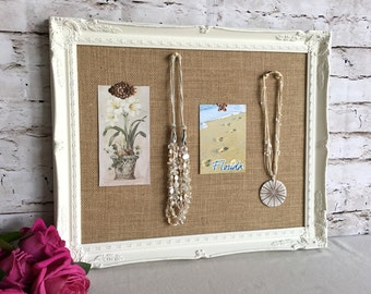 Bulletin board - shabby chic decor - framed cork board - fabric pin board