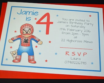 10 x Personalised Spiderman Birthday invitations with Envelopes 3 4 5 6 7 8 9 10