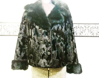 1950's Black Mink Bolero Jacket Made in England, Size Medium, Vintage Black Mink Bolero, 50's Black Mink Coat, Vintage Fur Coat, Mink Jacket