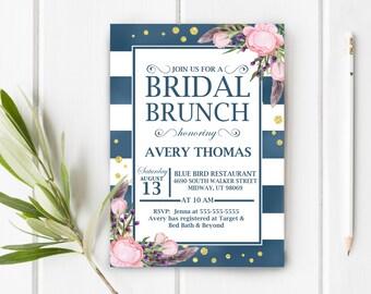Bridal Brunch Shower Invitation, Brunch Bridal Shower, Boho, Bohemian Invite, Blue pink and purple, Item 702