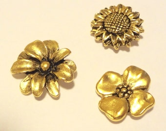 Flower Clutch pin 3pc set   CL-102AG  FREE SHIPPING