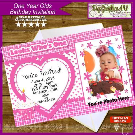 One Year Old Birthday Girl Printable Invitation By