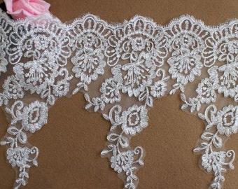 """1 Yards Ivory Floral Bridal Veil Alencon Lace Trim Bridal Wedding Dress 10.62"""" width"""