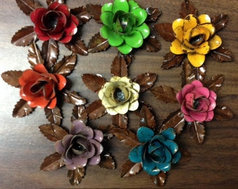 "Rustic metal rose w/ leaves - approx 3.25"" (many colors available)"