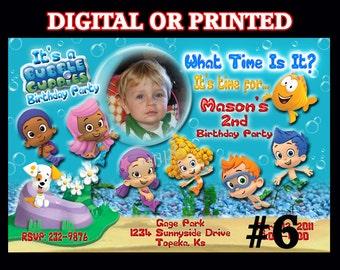 Bubble Guppies Invitations YOU PRINT or PRINTED Birthday Party Invitation Photo Birthday invitation, Bubble Guppies party Boy