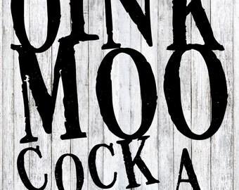 11x14 Photographic Print: OINK MOO