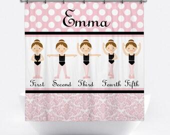 Ballerina Personalized Shower Curtain - Ballet Shower Curtain - Custom Shower Curtain with Monogram - Ballerina Bath Decor for Girls