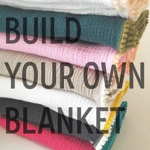 Swaddle Blanket / Build Your Own Pom Pom Swaddle Blanket / Gauze Swaddle / Blanket / Newborn / Newborn Baby Blanket / cotton swaddler