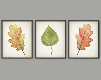 Leaf Watercolor Print Set of 3 - Forest Print - Autumn - Fall Leaf Wall Art Posters - Autumn Watercolour Leaves Modern Wall Art Print AB435