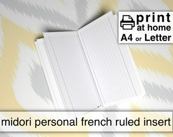 Printable French Ruled Inserts - Personal size Midori MTN 21cmx11cm - Kestrel Design DIY immediate download - traveller notebook handwriting