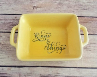 Yellow Ring Dish | Rings & Things | Ring Holder | Jewelry Holder | White Home Decor | Farmhouse Decor | Bridal Shower Gift | READY TO SHIP
