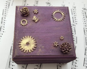 Steampunk jewellery box, trinket box, purple, cogs roses butterfly,assemblage decorated altered